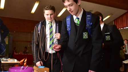 Students at the icanbea stand at an East Anglian renewable energy skills conference. Picture: NICK B