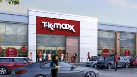 A computer-generated image of the proposed TK Maxx store submitted for Beardmore Park at Martlesham