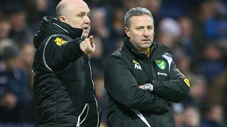 Norwich first team coach Mike Phelan and Norwich manager Neil Adams during the FA Cup match at Deepd