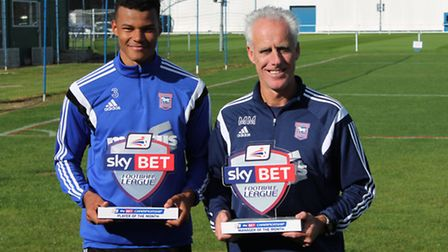 Ipswich Town defender Tyrone Mings and manager Mick McCarthy with their respective Sky Bet Champions