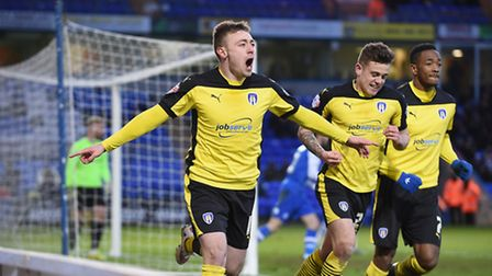 Freddie Sears celebrates giving the U's a second half lead at Peterborough