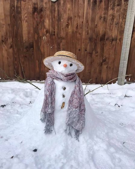 A snowman in Diss. Picture: Donna Edwards