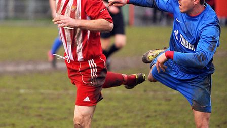 Felixstowe & Walton United's Danny Smy (left), who could be in for a return tomorrow afternoon follo
