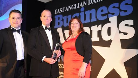 Barry Chevallier Guild of Aspall receives the Business of the Year trophy at the 2014 EADT Business