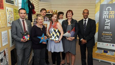 The I Make Fun Stuff pop up shop in Tower Ramparts shopping centre, Ipswich. L-R: Those involved inc