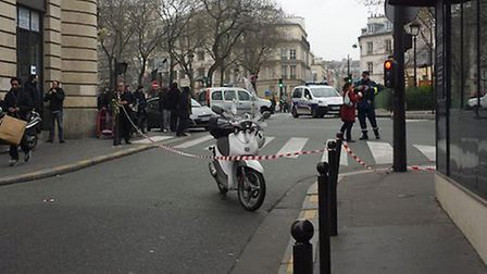 Photo from @julienrbcc of the scene in Paris, France, after ten people were shot dead in an attack a