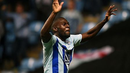 Frank Nouble celebrates scoring a goal on loan at Coventry