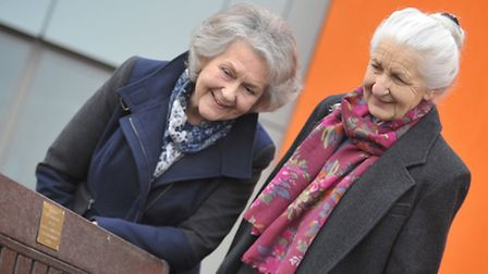 (L-R) Anne Gant and Christine Johnson outside the new Sudbury Health Centre with the memorial bench