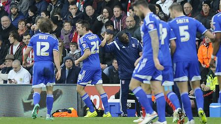 Darren Ambrose celebrates with Terry Connor giving Ipswich the lead at Southampton