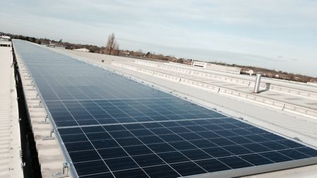 Part of the solar photovoltaic panel array being installed on the roof of the Crittall Windows facto
