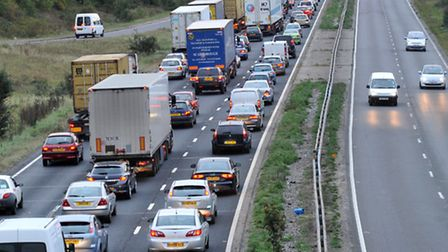 Delays have been caused by a lorry fire