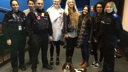 PC Clare Bailey, dog handler PC Gary Lambert with police dog Shifty and PCSO Lorraine Keating with s