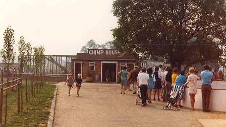 The chimp house at Banham Zoo pictured in the 1970s. It also contained a bird house. Picture: Banham