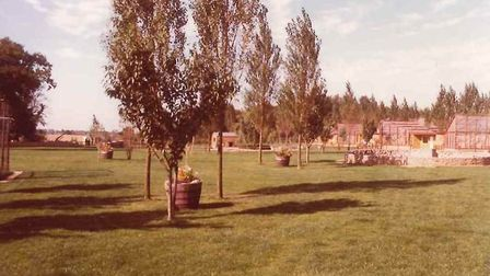 Banham Zoo during the 1980s. The penguin pool is on the right hand side, the woolly monkey enclosure