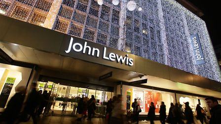 The John Lewis store in Oxford Street, lit up for Christmas.