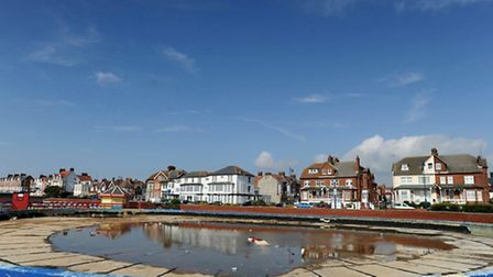The derelict yacht pond on Felixstowe seafront.