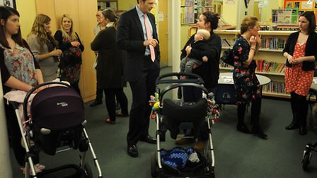 Dr Dan Poulter MP is at the Daisy Birthing antenatal class at Cedarwood Primary School in Ipswich.