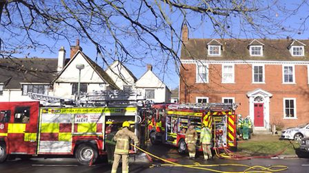 Around 60 firefighters battled the flames at the detached home off Nethergate Street in Clare yester