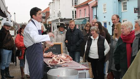 Gerard King of Salter and King butchers in Aldeburgh gives a demonstration to kick start Mutton Week
