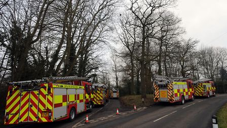 Emergency services at the scene of a fire in Stonham Aspal.