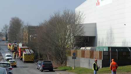 Emergency services at the scene of a fire at the Nestle Purina factory in Sudbury.