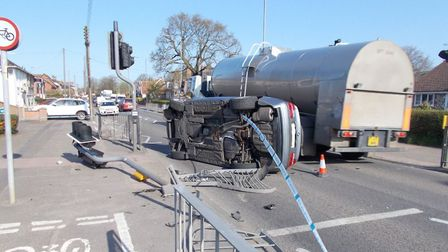 No one was harmed when a car flipped onto its side in rush hour traffic along Victoria Road in Diss