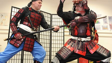 Mike graham's Muso shugyo samurai class at stowmarket community centre. Andy green and Mike graham