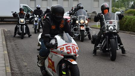 The motorcycle convoy entering the hospital. Picture: Norfolk and Norwich University Hospital Founda