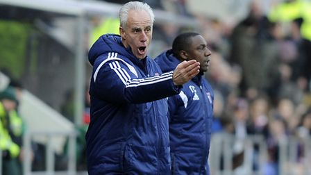 Mick McCarthy issues instructions to his players at Rotherham