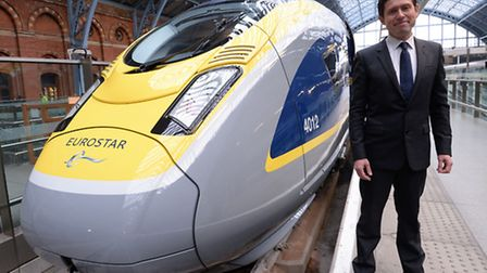 Chief Executive of Eurostar, Nicolas Petrovic, with the newly launched Eurostar e320 train at St Pan