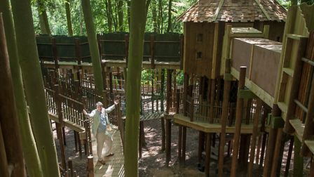 The Skymaze, a treetop attraction at Bewilderwood.