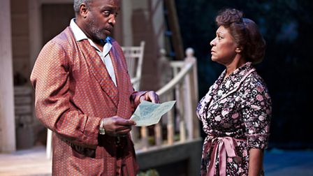 All My Sons by Arthur Miller, Talawa theatre company and New Wolsey Theatre. Kate (Dona Croll) and J