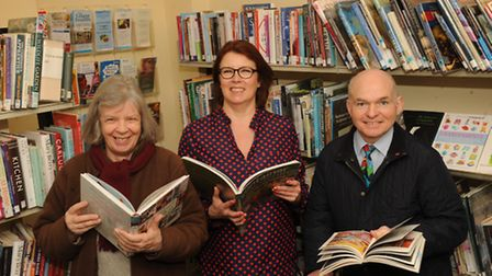 Framlingham Library is celebrating some of the recent refurbishments. L-RSteph Bennell, Lesley Clout