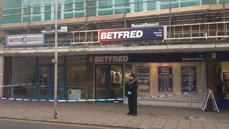 Police at the scene of a reported robbery at Betfred bookmakers in King Street, Great Yarmouth.