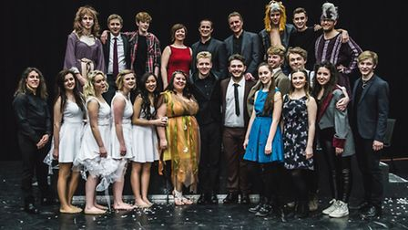 Suffolk writer and composer Wade Ablitt with the cast of his show A Midsummer Night's Dream – The Mu