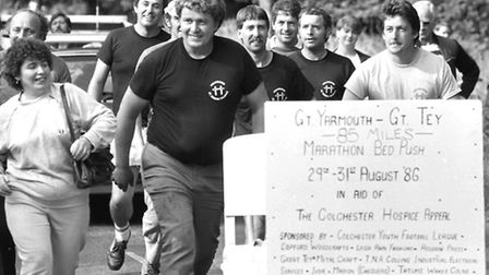 From The Archives Essex Great Tey Bed Push in aid of Colchester Hospice August 1986