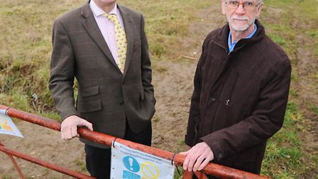 Chris Storey from Sudbury Chamber of Commerce and John McMillan next to the proposed Prolog site.