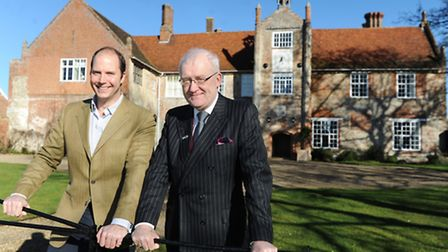 Bruisyard Hall wedding and function venue manager Paul Rous (left) with Suffolk County Council chair