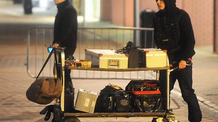 Film crew taking shots for Ed Sheeran's new music video in Ipswich Town centre.