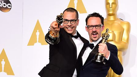 Mat Kirkby (right) and James Lucas (left) with the award for best live action short film for 'The Ph