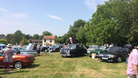 Some of the classic cars on the village green at Burston. Picture: Geoff Dixon