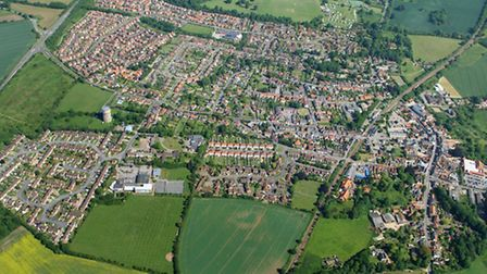 Aerial photograph of Saxmundham, by Mike Page.