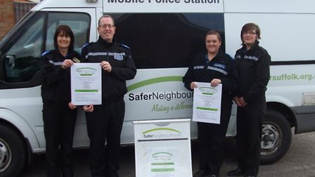 The Woodbridge Safer Neighbourhood Team with the mobile police station that wil be touring the area