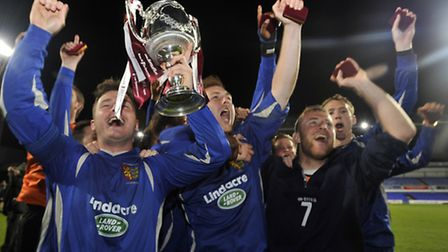 Ipswich Wanderers celebrate winning the Suffolk FA Senior Cup final against Whitton United at Portma
