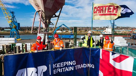 The topping out ceremony at the new dry bulk warehouse being built by R G Carter for Associated Brit