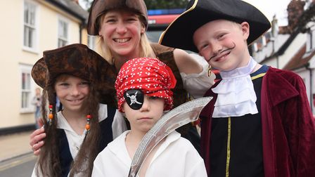 A family of pirates, Julia McCathie, with her son George, nine, right, and his cousins, James Thomps