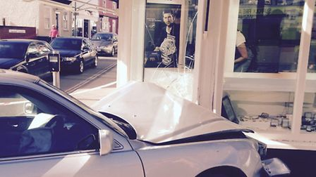 The car embedded in the front of the jewellery story in Stowmarket