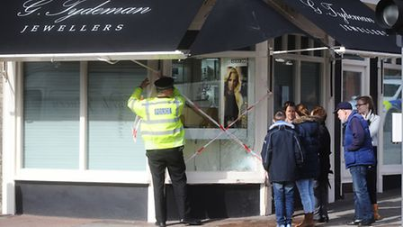 Car hits jewellers shop Tydemans in Stowmarket Town Centre.