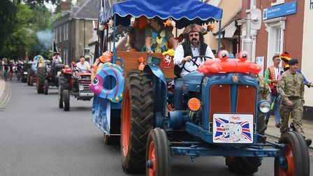 Members of the Tivetshall Old Ram Tractor Club in the Diss Carnival parade. Picture: DENISE BRADLEY