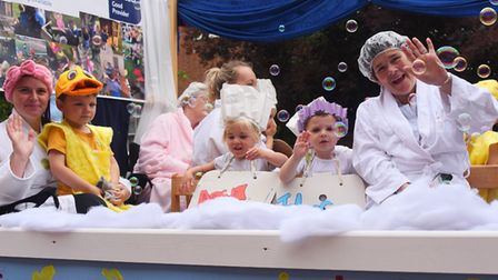 The Merryfields Playschool team enjoying a bath in the Diss Carnival parade. Picture: DENISE BRADLEY